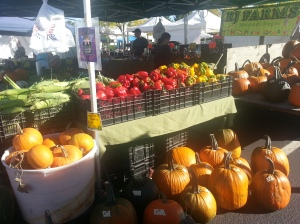 Huge peppers and a trailer-load of pumpkins at RJ Farms
