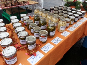 Caldwell Family Farms not only have fresh produce but dill pickles, pickled cauliflower, pickled broccoli, smoky pickled rutabaga, pickled jalapeños, candied jalapeños, and candied habenaro. Don't forget the apple butter and blackberry jam too!