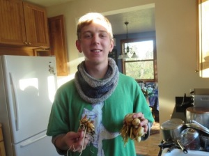 Curran with his first crop of tumeric and ginger